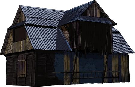 abandoned wooden House Illustration