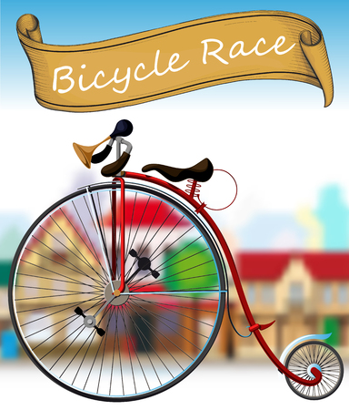 spoke: Old Bicycle Race vector illustration.