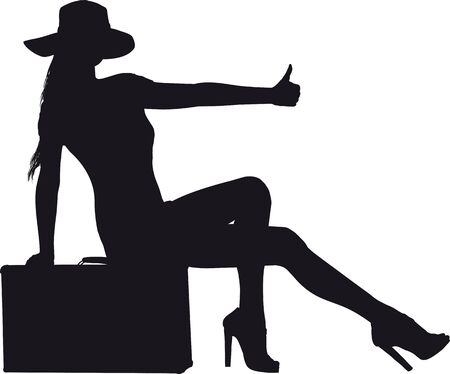 fille avec une vieille valise dans une robe courte et un chapeau essayant d'entrer dans un auto-stop