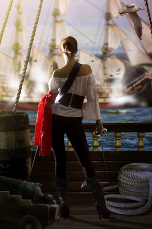 Pirate Girl Attack Stockfoto - 89407613