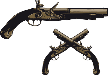Ancient pistol with a flintlock illustration.