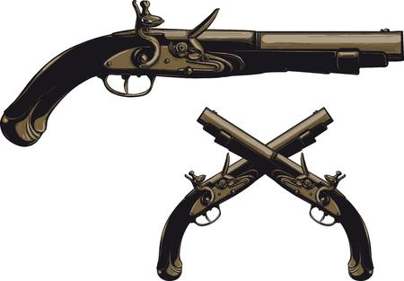 Starożytny pistolet z ilustracją skałkową.