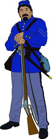 Civil war private vector illustration. Illustration
