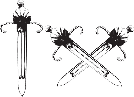 An ancient short powerful knightly dagger for the left hand with a well protected guard and a straight blade Vector illustration.