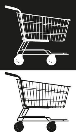 simple shopping trolley silhouettes in a supermarket on a white and black background