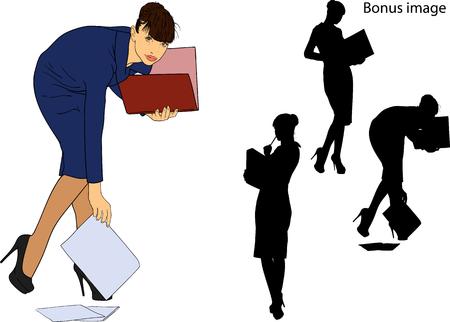 młoda sekretarka w surowej ciemnej sukience trzyma teczkę z papierami