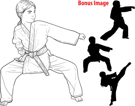 Little girl karateka in kimono trains and practices to strike and defend herself