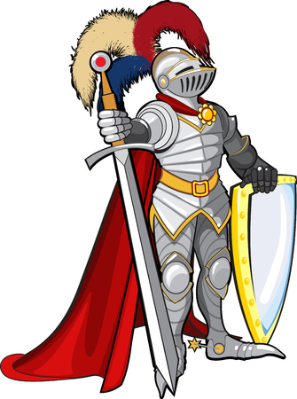 A brave knight in shining armor stands facing the enemy with a shield and a huge sword