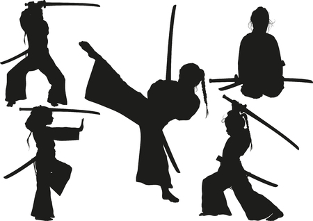 little girl in a traditional oriental sports kimono is trained to defend herself and attack with a sword Ilustração