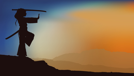 silhouette of a girl in a kimono with a katana sword practicing martial arts on the background of a mountain landscape