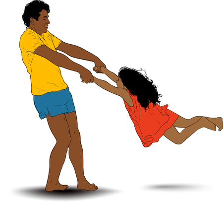 A laughing father plays with his daughter and twists her around him