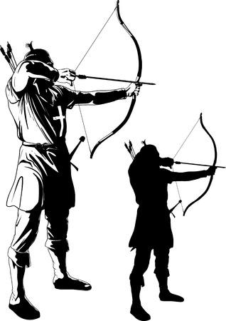 arquero tira de la cuerda