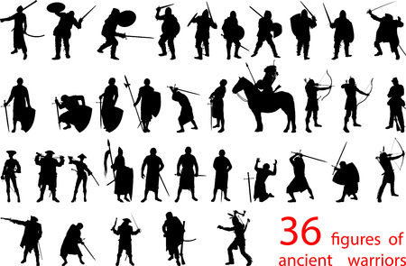 a set of thirty-six silhouettes of armed ancient warriors of different historical periods and continents