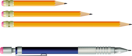 yellow wooden pencil and automatic pencil isolated on white