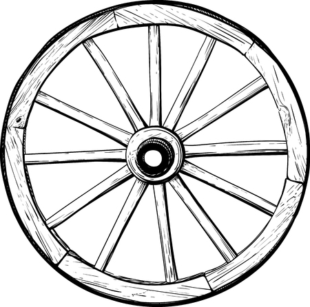 Een oud houten wiel met spaken op een paardenkoets geïsoleerd op een witte achtergrond van