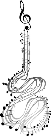 abstract image of musical notes resembling in the form of a guitar