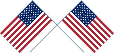 two crossed mirrored US flag Isolated on white background