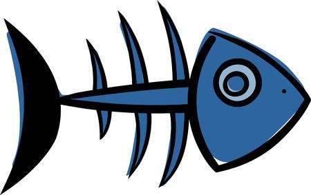 simple skeleton of fish with bones isolated on white background Vektorové ilustrace