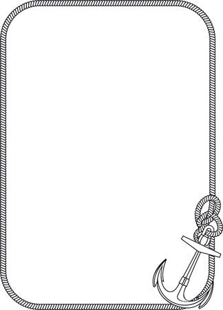 decorative frame from ship rope with an anchor in the lower right corner Vetores