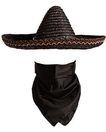 Classic Mexican hat and bandanna pattern with empty space to insert face Stockfoto