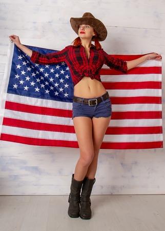 cowboy girl flag