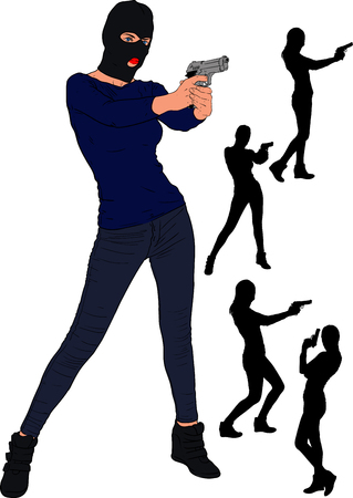 Slender young girl in a balaclava and sportswear stands with a gun. And a few bonus silhouettes from this series. Ilustrace