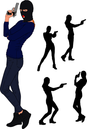 Slender young girl in a balaclava and sportswear stands with a gun. And a few bonus silhouettes from this series. Illustration