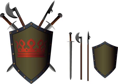 Gekreuzte Waffenschwerter und -äxte hinter einem Schild mit einer bemalten Krone Vektorgrafik