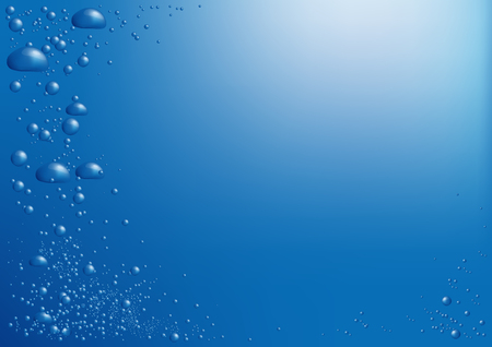 Bubbles of air in blue water rise to the surface of the background with a place for the text Banco de Imagens