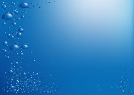 Luchtbellen in blauw water stijgen naar de oppervlakte van de achtergrond met een plek voor de tekst Stockfoto