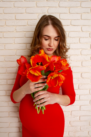 Beautiful young girl in the sixth month of pregnancy in a bright red dress with a bouquet of tulips on the background of a brick wall. Banco de Imagens