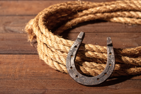 An old horseshoe lies next to a classic cowboy lasso on a dark wooden background.