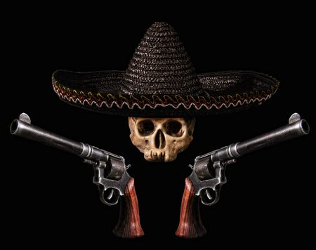 Skull in a traditional wide-brimmed Mexican hat with two revolvers on a dark background
