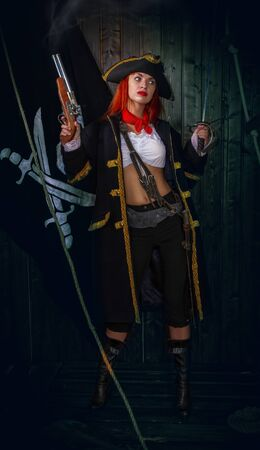 Girl Pirate Captain Banque d'images - 131805581