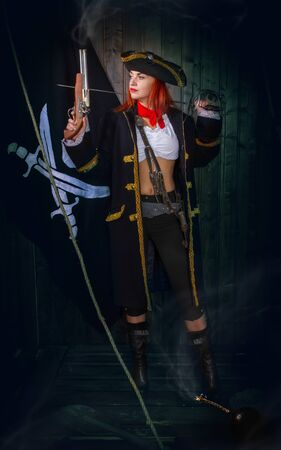 Girl Pirate Captain Banque d'images - 131805582