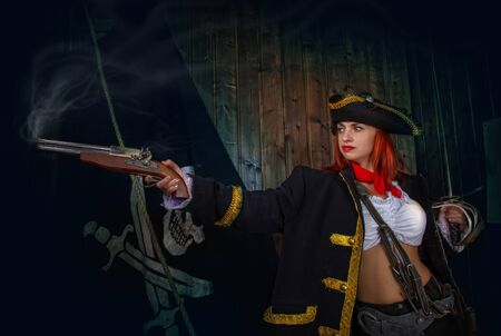 Girl Pirate Captain Banque d'images - 131805586