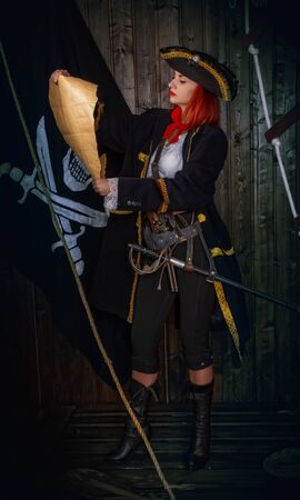 Girl Pirate Captain Banque d'images - 131805588