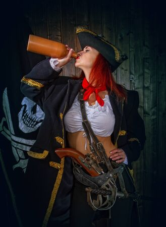 Girl Pirate Captain Banque d'images