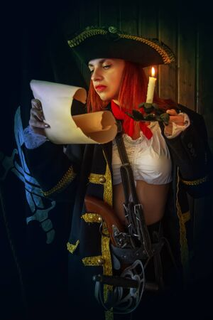 Girl Pirate Captain 版權商用圖片