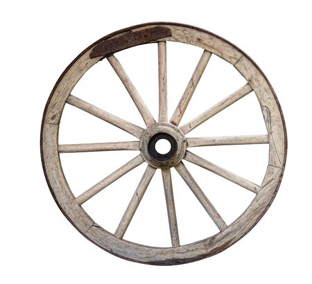 old disused wooden cart or wagon wheel isolated on white background Foto de archivo