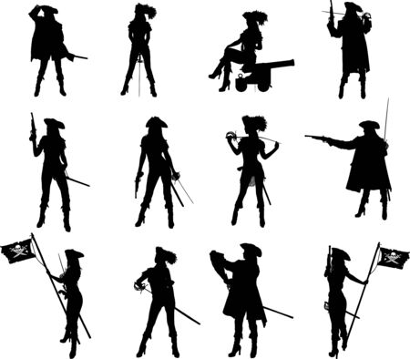 Set of silhouettes of a sexy slim pirate girl with different weapons in different poses and clothes Vectores