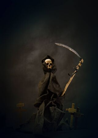 a gloomy cemetery and death standing on it with a scythe in the hood of a scythe on a dark smoky background