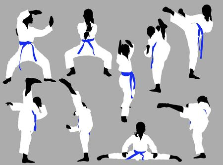 karate girls in a white kimono and a blue belt on a gray background are training in kata