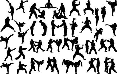 Eine große Reihe von Silhouetten von Kindern von Mädchen und Jungen, die während des Streiks und der Blöcke Karate in verschiedenen Positionen praktizieren