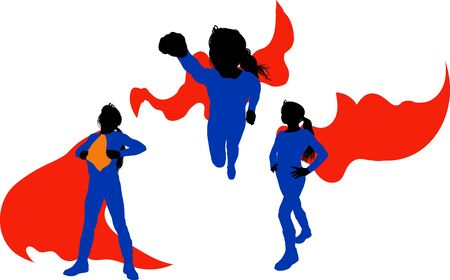 little girl in a supergirl costume in several poses in a red cloak Illustration