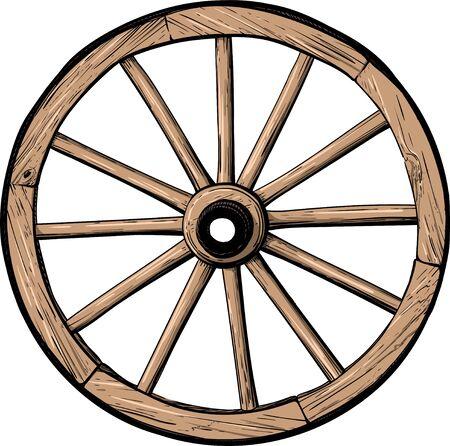 Rueda de madera clásica antigua de carro o diligencia color aislado sobre fondo blanco.