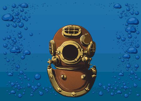 Vintage classic heavy copper diver helmet on the background of the sea and air bubbles. Vector illustration in the engraving style.