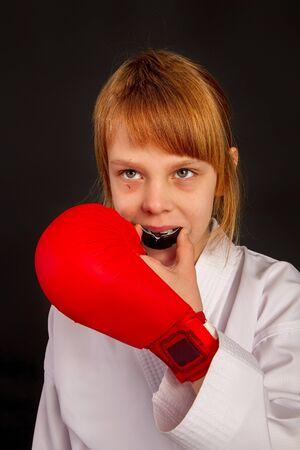 mouth guard girl Standard-Bild