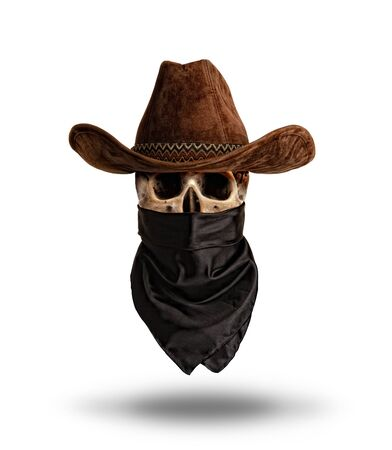 human skull in a wide-brimmed classic cowboy hat and bandanna hat Isolated on a white background