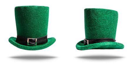 Green classic hat cylinder leprechaun for St. Patrick's Day side and front isolated on a white background